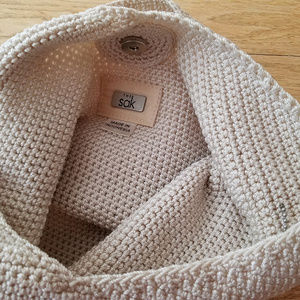 the SAK - small cream woven bag purse EUC